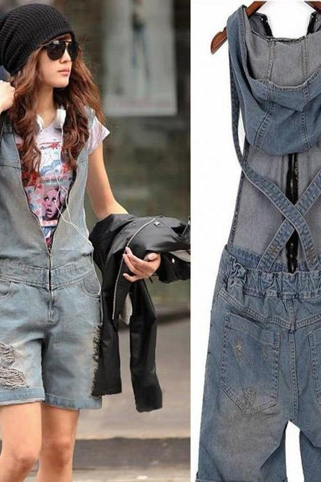 Vintage Women Washed Jeans Denim Casual Hole Short Jumpsuit Romper Overall Pants