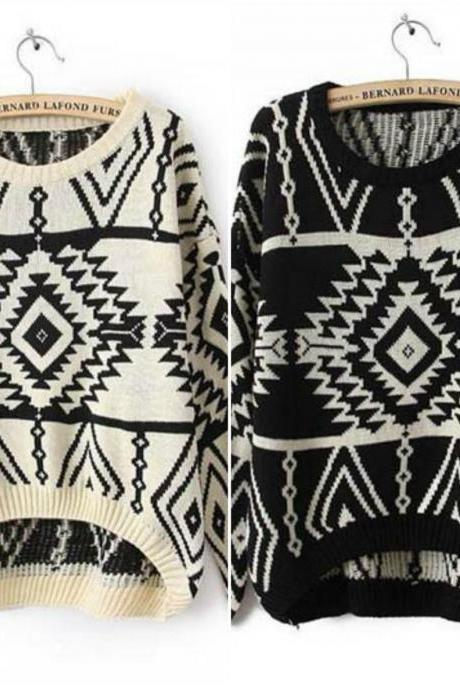 Tribal Pattern Knitted Pullover Sweater In 4 Colors