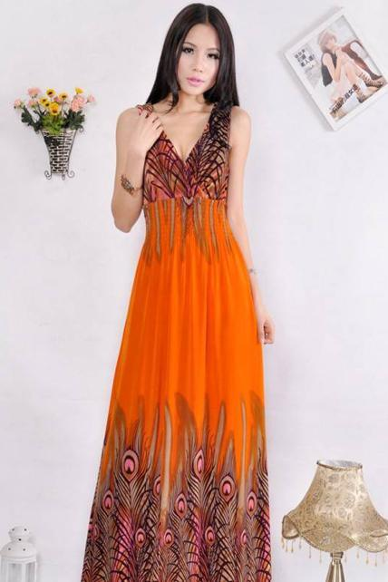 Ethnic Style Sleeveless Orange Embossing High Waist Dress