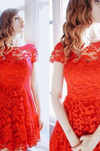 Sexy See-Through Short-Sleeve Red Lace Party Dress