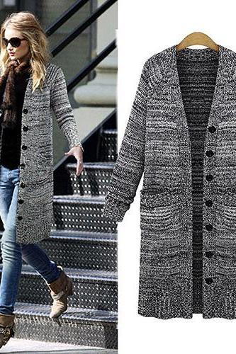 Fashion Long Sleeve Single-Breasted Long-Style Knitted Cardigan