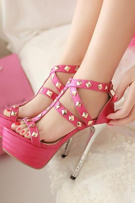 Stiletto High Heels Studded Gladiator Sandals In Rose Red