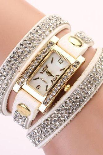 Rhinestones wrap dress white Pu leather fashion woman watch