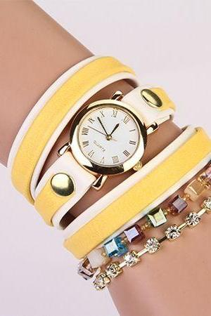 Wrap rhinestone yellow-white bracelet teen casual woman watch