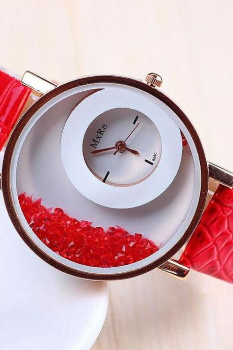 Fashion red dress crystals face trendy woman watch