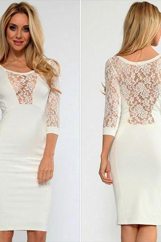 Sexy Hollow Out Lace Spliced 3/4 Sleeve Package Hip Dress