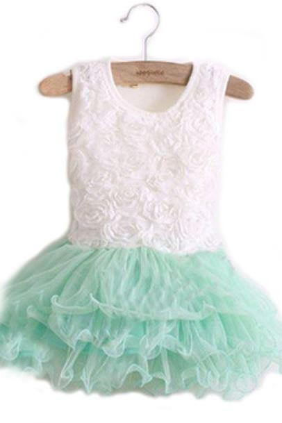 2T MintGreen Toddler Spring Dress 3T MintGreen Baby Girls Dress