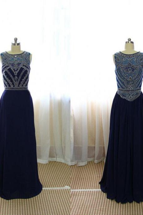 Custom Made A Line Dark Navy Blue Beaded Long Prom Dresses 2015, Formal Dresses, Navy Blue Evening Dresses, Graduation Dresses