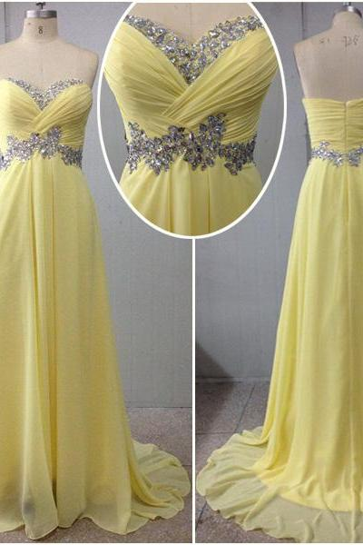 New Arrival Yellow Prom Dresses, Sweetheart Prom Dress, Floor-Length Prom Dresses, Chiffon Prom Dresses, The Charming Sequined Prom Dress, Prom Dress, On Sale