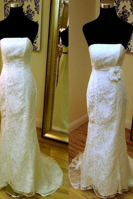 Lace Strapless Straight-Across Floor Length Trumpet Wedding Dress Featuring Floral Embellished Belt and Sweep Train