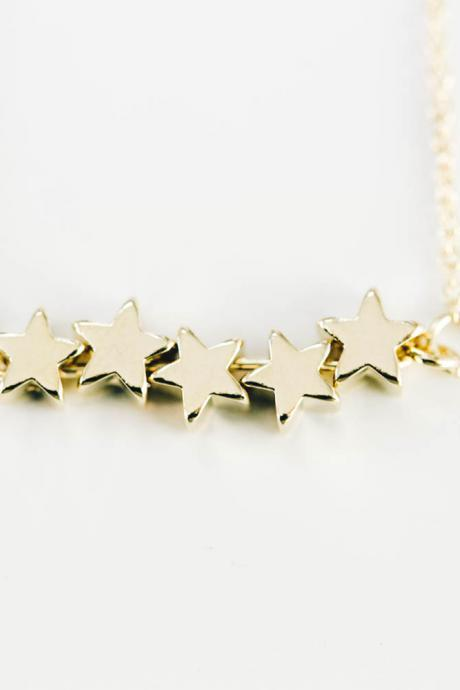 5 Mini Star Necklace,charm Necklace
