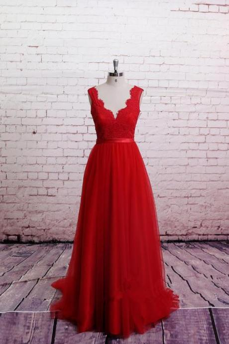 Handmade High Quality Classic Lace Red Prom Dress,Brush Train Prom Dress , A-line Red Bridesmaid Dress, Sweetheart Party Dresses, Formal Dresses