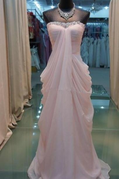 Custom Made Light Pink Chiffon Floor Length Prom Dresses , New Style Prom Dresses ,Pink Prom Dress, Prom Gown, Bridesmaid Dreses
