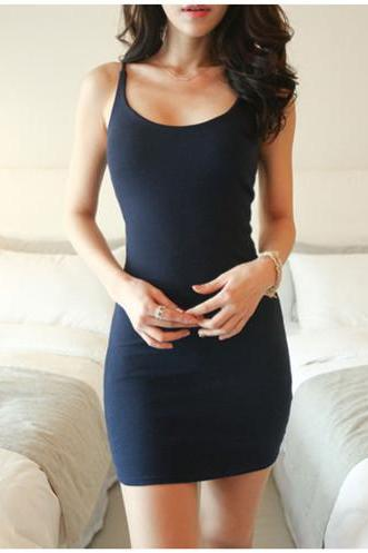 Skater Sexy Scoop Neck Sleeveless Vest Slim Fitted Mini Bottom Dress Bodycon Bar