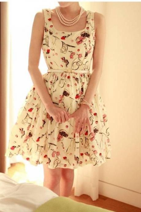 Fashion Womens Floral Printed Sleeveless Chiffon Pleat Belted Swing Dress