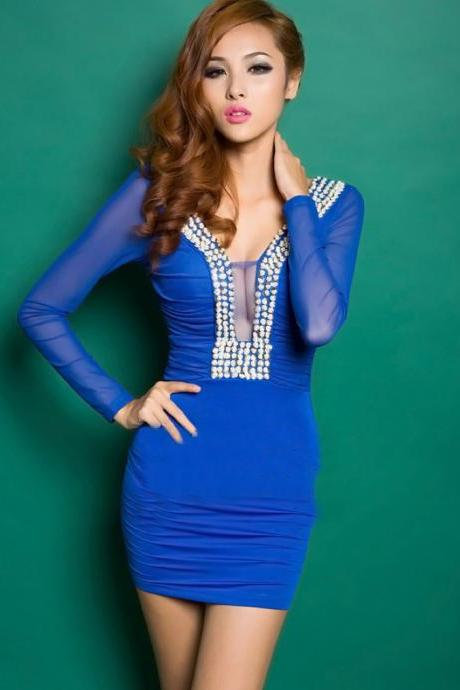 Sexy Blue Splicing Studded Dress