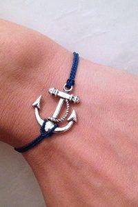 Navy Blue CORD With Anchor Wish Bracelet