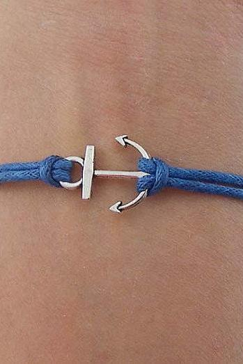 Antique Silver Bracelet, Navy Blue Wax Cords Bracelet, Girls or boys Gift