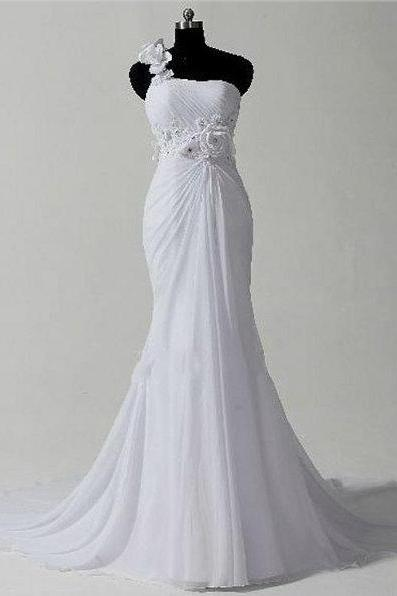 Wd130 Romantic Wedding Dress One Shoulder Wedding Dress Mermaid Wedding Dress