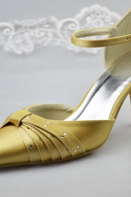 Close Pointed Toe Gold Satin High Thin Heels Hogskin Inside Rhinestone Wedding Woman Shoes