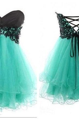 Custom Made Mint Green Sweetheart Chiffon A-Line Homecoming Dress with Lace Applique and Lace-Ups