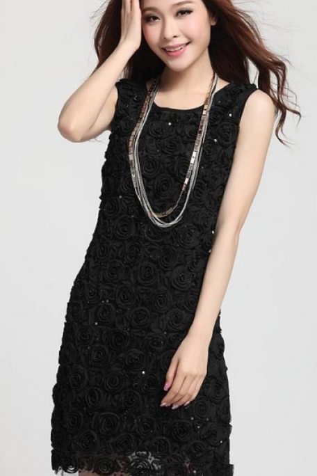 Embroidery Stereo Roses Sleeveless Vest Sequined Dress