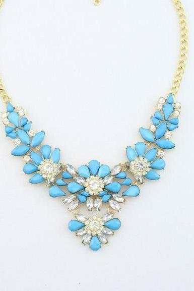 Dress rhinestones prom blue night special woman necklace