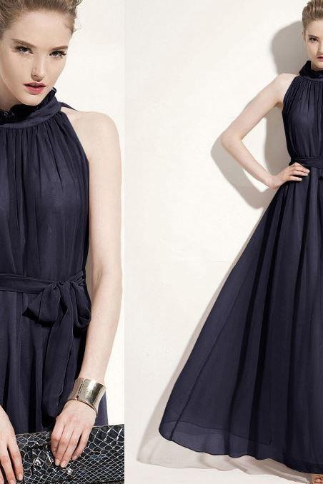 Navy Blue Dress navy Blue Maxi Dress for Women Floor Length Ankle Length Dress Navy Blue Evening Dress
