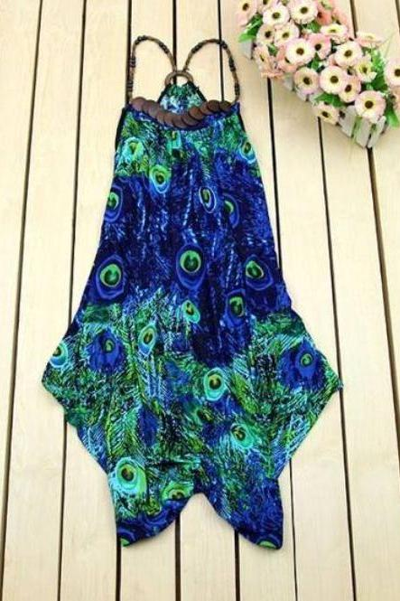 Blue Blouse BlueTops Wooden Necklace Printed Peacock Loose Long Tops-MEDIUM SIZE