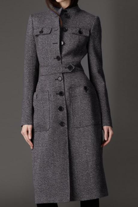 Gray Wool Trench Coats for Women