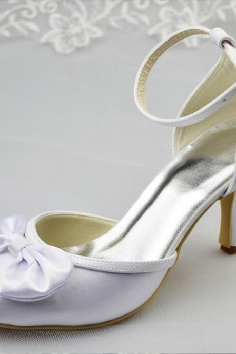 Close Pointed Toe White Satin High Thin Heels Hogskin Inside Concise Princess Wedding Shoes,Fashion Shoes,wedding shoes