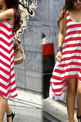 Casual striped sleeveless dress ER12407JK