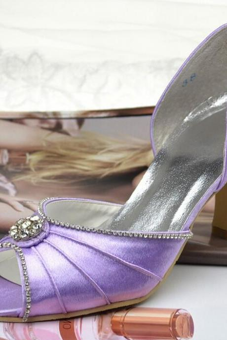 Nice High Heel Shoes,Peep Toe Lilac Satin High Thin Heels Hogskin Inside Rhinestone Prom Woman Shoes,wedding shoes
