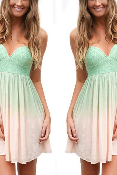 Strapless ombre summer dress