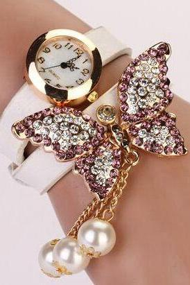 Rhinestone butterfly decor wrap imitation pearl pendant watch