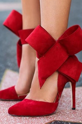 Pointed-toe Velvet Heels with Oversized Bow Accent Straps