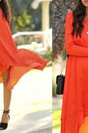 Irregular loose long-sleeved dress VG12413NM