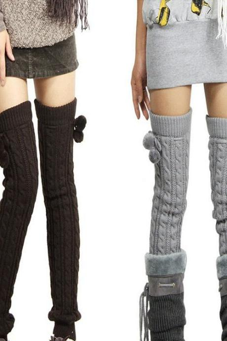 Knitting Overthe Knee Barreled Socks Leggings Legwarmer