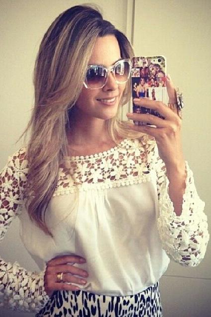 Hollow Out Lace Shoulder Long Lace Sleeves Chiffon Blouse
