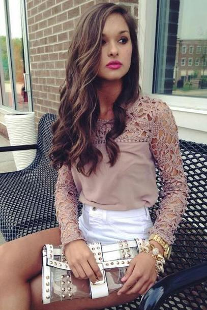 Hollow Out Lace Sleeves Chiffon Blouse