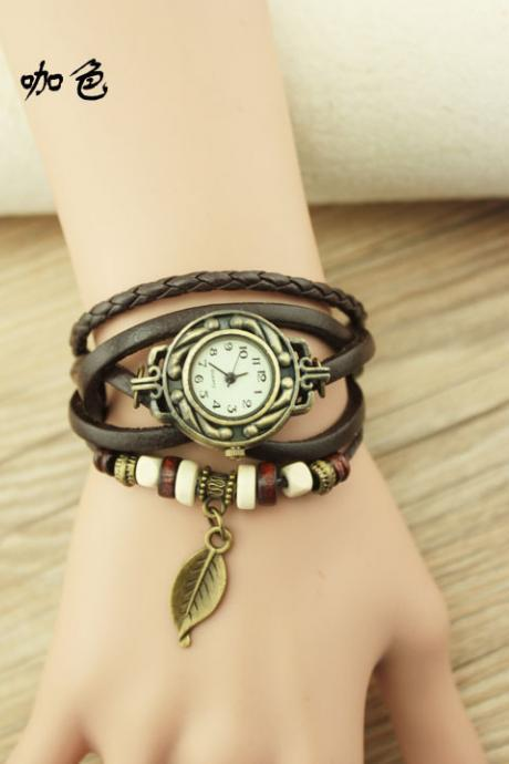 Handmade Vintage Woman Girl Lady Quartz Wrist Watch Style Leather Band Watches Brown