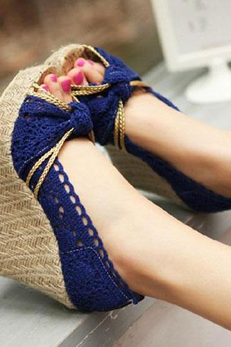 High Braided Wedge Heel Crochet Lace Peep Toe Sandal