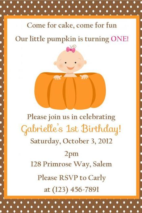 Pumpkin Birthday Invitation - Printable File