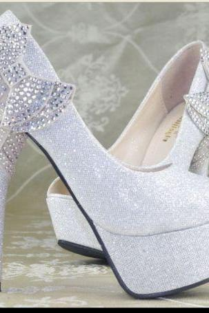 Evening Party Crystal Bows High Heels Platform Open Toe Wedding Shoes