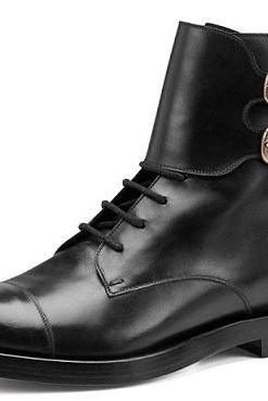 HANDMADE MENS OXFORS ANKLE MONK STRAP LACE UP LEATHER BOOTS, MEN LEATHER BOOTS