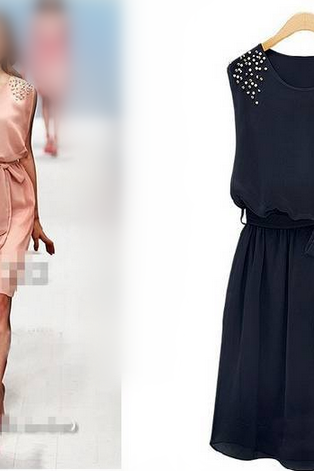 The 2015 Women's Temperament Of Cultivate One's Morality Order Bead Sleeveless Vest Skirt Is Chiffon Dress
