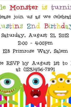 Little Monster Birthday Invitation - Printable File