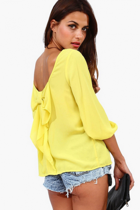 Europe And The Female Shirt Chiffon Loose Backless Chiffon Blouse-Yellow