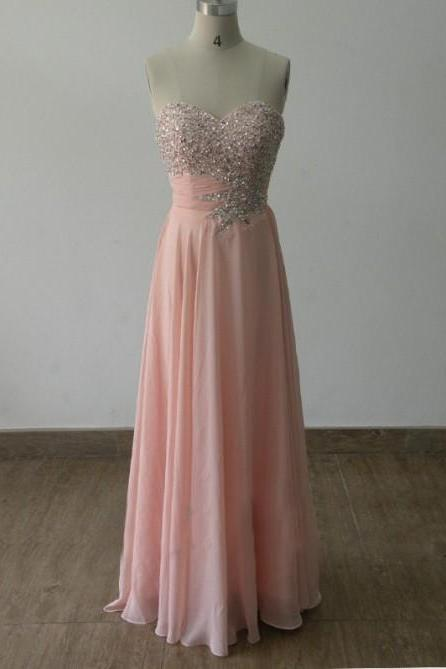 Custom-Made Sparkle Beadings Light Pink Sweetheart Prom Dress 2015, Handmade Prom Gown, Evening Party Dresses, Gorgeous Prom Gown, Formal Dresses