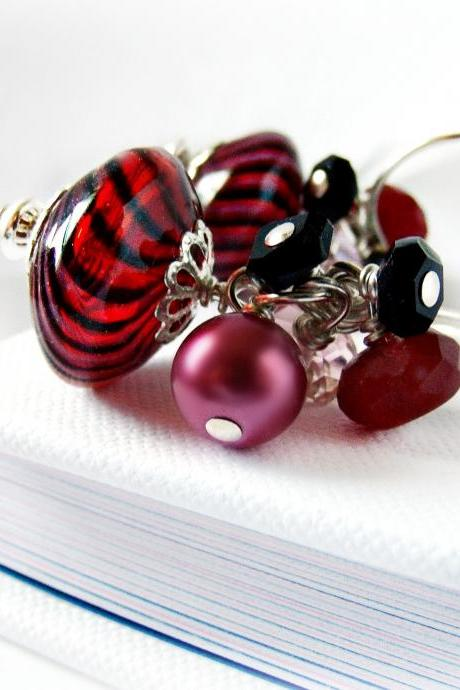 Red and Black Stripe Blown Glass Earrings w/ Red Jade and Onyx- Red Jewelry-Sterling Silver- Pearl Jewelry- Onyx Jewelry